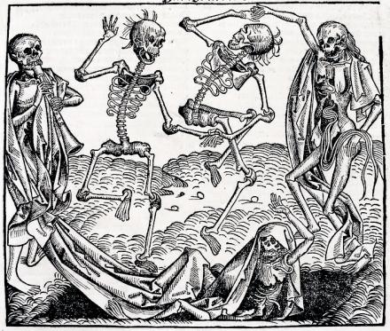 Michael Wolgemut, Danza macabra (1493) da Liber chronicarum di Hartmann Schedel.